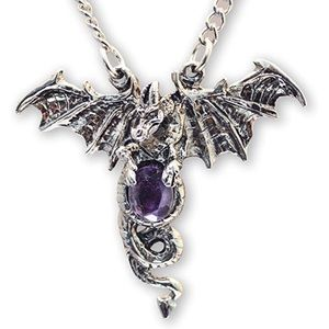 Dragon with Purple Crystal Necklace